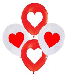- Kalp Baskılı Balon 12 inç (25x30 cm) 100'lü Paket