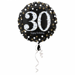 - 30 Yaş Happy Birthday Folyo Balon 18 inç (43x43 cm)