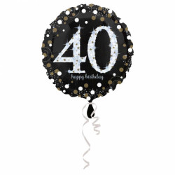 - 40 Yaş Happy Birthday Folyo Balon 18 inç (43x43 cm)