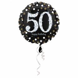 - 50 Yaş Happy Birthday Folyo Balon 18 inç (43x43 cm)