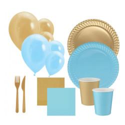 - Açık Mavi-Altın Karton Parti Seti 16 Kişilik