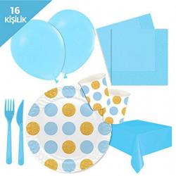 - Açık Mavi Altın Puantiyeli Karton Parti Seti 16 Kişilik