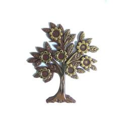 - Çiçekli Yapraklı Plastik Kahverengi Ağaç