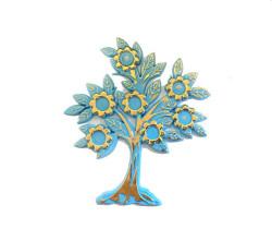 - Çiçekli Yapraklı Plastik Mavi Ağaç