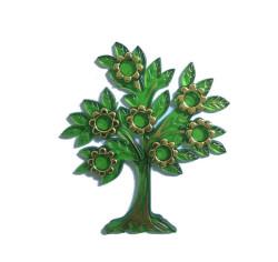 - Çiçekli Yapraklı Plastik Yeşil Ağaç