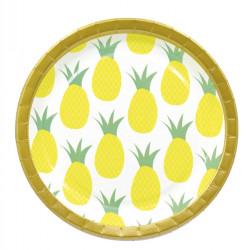 - Altın Ananas Kağıt Tabak (23cm) 8'li Paket