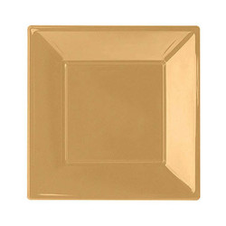 - Altın Büyük Plastik Kare Tabak (23x23 cm) 8'li Paket