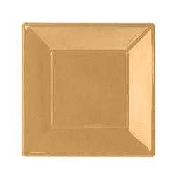- Altın Küçük Plastik Kare Tabak (17x17 cm) 8'li Paket