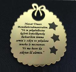 - Nazar Duası Fiyonklu 2 mm Altın Pleksi
