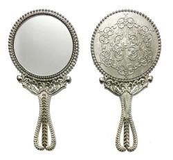 - Metal Ayna Ağaç Desenli Gümüş
