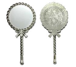 - Metal Ayna Burgu Desenli Gümüş
