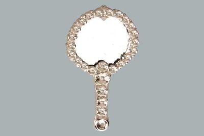 Metal Ayna Çiçek Desenli Gümüş