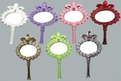 Çiçekli Plastik Gümüş Ayna - Thumbnail