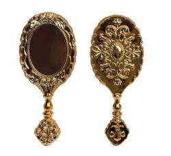 - Oval Plastik Gül Desenli Altın Ayna