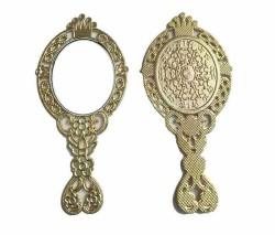 - Taçlı Çiçekli Metal Altın Ayna