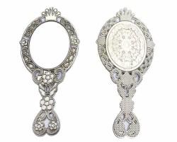 - Taçlı Çiçekli Metal Gümüş Ayna