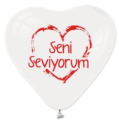 - Balon 1+1 Seni Seviyorum Kalp Beyaz Krmz P100-50