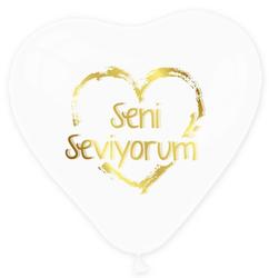 - Balon 1+1 Seni Seviyorum Kalp Şeffaf Altın P100-50