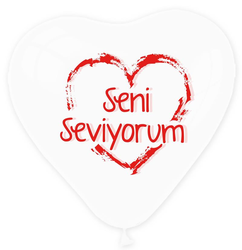 - Balon 1+1 Seni Seviyorum Kalp Şeffaf Krmz P100-50