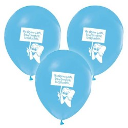 - Diş Buğdayı Baskılı Mavi Balon 12 inç (25x30 cm) 100'lü Paket