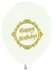 - Altın Renkte Elegant Happy Birthday Baskılı Şeffaf Balon 12 inç (25x30 cm) 100'lü Paket