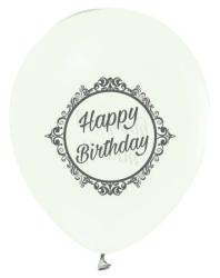 - Gümüş Renkte Elegant Happy Birthday Baskılı Şeffaf Balon 12 inç (25x30 cm) 100'lü Paket