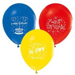 - Happy Birthday 1 Yaş Baskılı Karışık Renkli Balon 12 inç (25x30 cm) 100'lü Paket