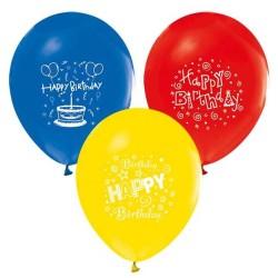- Happy Birthday Baskılı 1 Yaş Baskılı Karışık Renkli Balon 12 inç (25x30 cm) 16'lı Paket