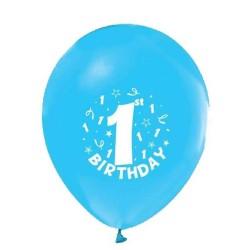 - Happy Birthday 1 Yaş Baskılı Mavi Balon 12 inç (25x30 cm) 16'lı Paket