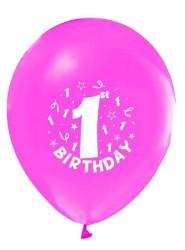 - Happy Birthday 1 Yaş Baskılı Pembe Balon 12 inç (25x30 cm) 16'lı Paket