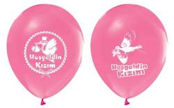 - Hoşgeldin Kızım Baskılı Pembe Balon 12 inç (25x30 cm) 100'lü Paket