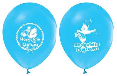 Hoşgeldin Oğlum Baskılı Mavi Balon 12 inç (25x30 cm) 100'lü Paket