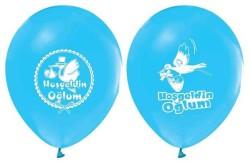 - Hoşgeldin Oğlum Baskılı Mavi Balon 12