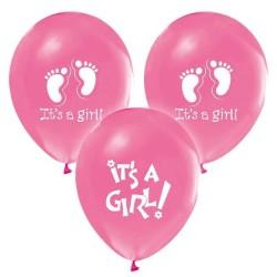 - It's A Girl Baskılı Pembe Balon 12 inç (25x30 cm) 100'lü Paket