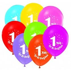 - İyiki Doğdun 1 Yaş Baskılı Karışık Renkli Balon 12 inç (25x30 cm) 100'lü Paket