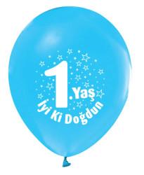 - İyiki Doğdun 1 Yaş Baskılı Mavi Balon 12 inç (25x30 cm) 100'lü Paket