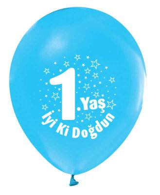 İyiki Doğdun 1 Yaş Baskılı Mavi Balon 12 inç (25x30 cm) 100'lü Paket