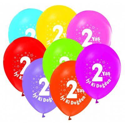 İyiki Doğdun 2 Yaş Baskılı Karışık Renkli Balon 12 inç (25x30 cm) 100'lü Paket