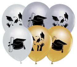 - 1+1 Metalik Yetişkin Mezuniyet 12 inç (25x30 cm) Baskılı Balon 100'lü Paket