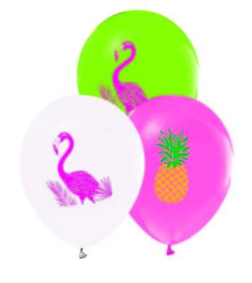 Flamingo Baskılı Balon 12 inç (25x30 cm) 100'lü Paket