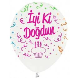 - İyiki Doğdun Floresan Beyaz Baskılı Balon 12 inç (25x30 cm) 100'lü Paket