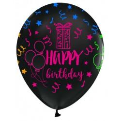 - Happy Birthday Baskılı Siyah Balon 12 inç (25x30 cm) 100'lü Paket