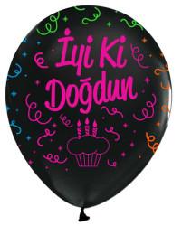 - İyiki Doğdun Floresan Baskılı Siyah Balon 12 inç (25x30 cm) 100'lü Paket