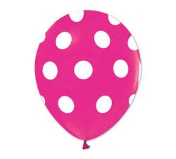 - Beyaz Puantiyeli Fuşya Balon 12 inç (25x30 cm) 100'lü Paket