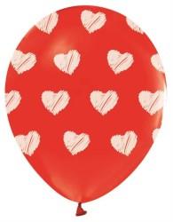 - Beyaz Kalp Baskılı Kırmızı Balon 12 inç (25x30 cm) 16'lı Paket