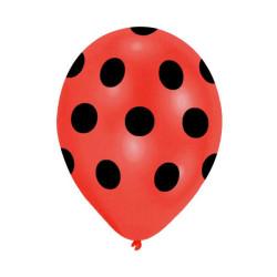 - Siyah Puantiyeli Kırmızı Balon 12 inç (25x30 cm) 100'lü Paket