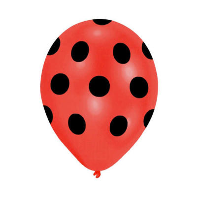 Siyah Puantiyeli Kırmızı Balon 12 inç (25x30 cm) 100'lü Paket