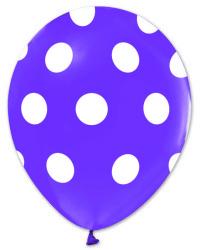 - Beyaz Puantiyeli Lila Balon 12 inç (25x30 cm) 100'lü Paket