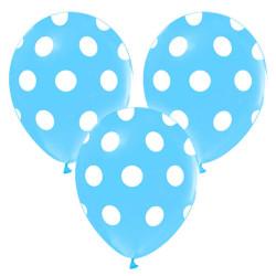 - Beyaz Puantiyeli Mavi Balon 12 inç (25x30 cm) 100'lü Paket