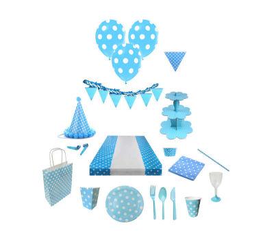 Beyaz Puantiyeli Mavi Balon 12 inç (25x30 cm) 100'lü Paket